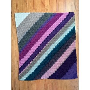 Vintage Crochet Purple Asymmetric Stripe Throw